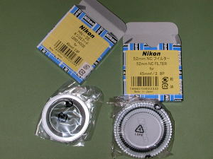 Nikon HN-35 and NC Filter for Ai Nikkor 45mm F2.8P Silver