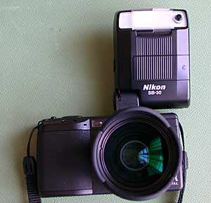 Ricoh GR Digital and Nikon Speedlight SB-30