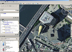 Google Earth 4 beta 東京都墨田区吾妻橋の某ビル付近