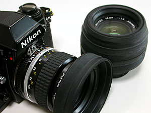 Hama マルチラバーフード、Ai Nikkor 35mm F2S and Ai Nikkor 28mm F2.8S