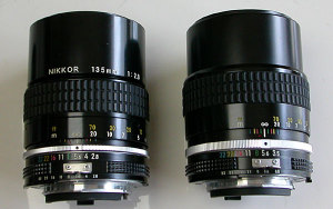 Ai Nikkor 135mm F2.8(left) and Ai Nikkor 135mm F3.5(right)