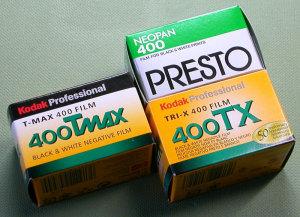 Kodak 400TX(TRI-X),Kodak T-MAX 400(TMY) and Fujifilm NEOPAN 400 PRESTO
