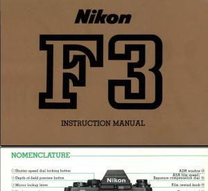 Nikon F3の英語版取扱説明書表紙