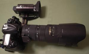 Nikon D300 + MB-D10 + Ai AF Zoom-Nikkor 80-200mm f/2.8D ED <NEW> + Fotodiox 花型フード「N.HB-7」 + SONYハンディカムHDR-CX590V + エツミ フリーツインプレートDX(E-6045)