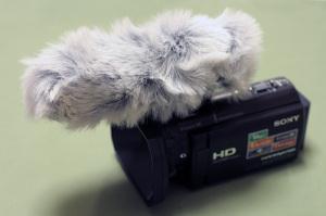 SONY ガンズームマイクロフォンECM-HGZ1 + audio-technica AT9941用ウィンドマフ + HDR-CX590V
