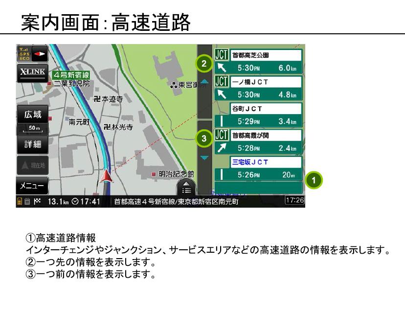 RM-XR550XL ナビ 高速道路情報画面