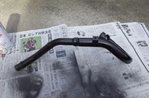 Honda CRF250L(MD38)のエキゾーストパイプ塗装中