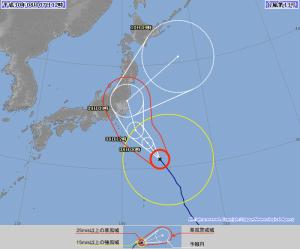 2018年台風13号(2018年8月7日(火)12:00現在)