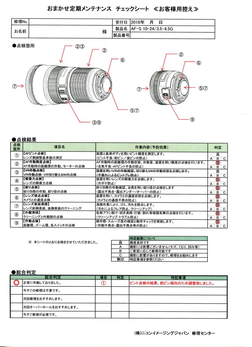 ニコンおまかせ定期メンテナンス チェックシート AF-S DX NIKKOR 10-24mm f/3.5-4.5G ED