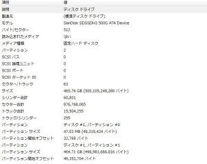 【写真4】4Kアライメント調整後のmsinfo32.exeでシステム情報を起動した場合の「システムの要約→コンポーネント→記憶域→ディスク」の情報