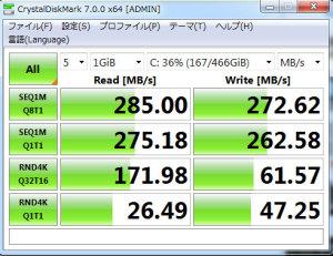 【写真1】4Kアライメント調整前のCrystalDiskMarkの値:Vostro430(Core i5 750、メモリ12GB)SANDISK ULTRA 3D SSD SDSSDH3-500G-J25