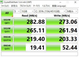 【写真5】CrystalDiskMarkの値: Let's note SX2JEQDR(Core i5-3320M vPro標準電圧版、メモリ8GB)SANDISK ULTRA 3D SSD SDSSDH3-500G-J25