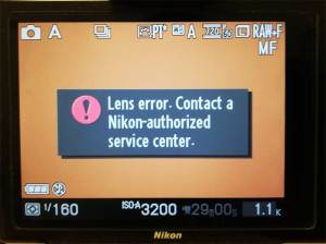 "Nikon 1 V1に故障したGfotoタンポポチップ付きCマウントレンズ → Nikon1ボディアダプターを付けた時のエラーメッセージ""Lens error.Contact a Nikon-authorized service center."""