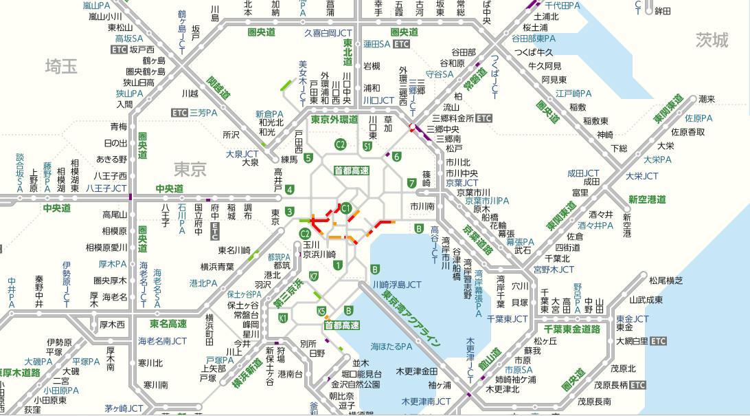 2020年2月29日(土)12:10現在のYahoo!道路交通情報