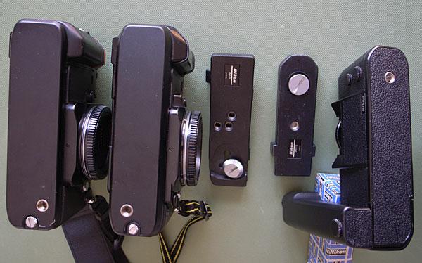 左から、F-301(MB-4付き)、F-501(MB-3付き)、AH-3、AH-2、MD-4(下にAH-3の箱)