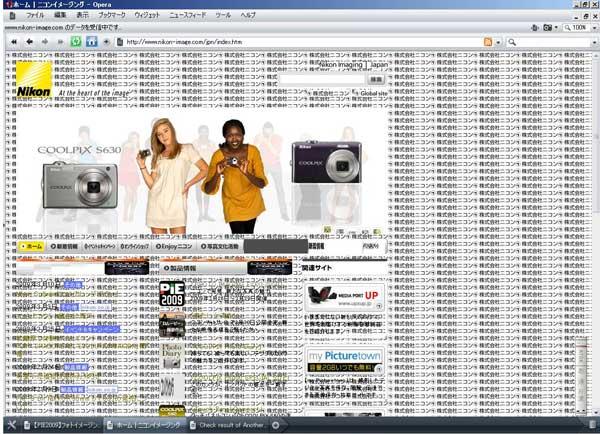 Opera 9.64(for Windows)でnikon-image.comを表示したところ
