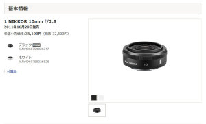 Nikon 1用1 NIKKOR 10mm f/2.8 製品情報「旧製品」