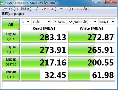 【写真3】4Kアライメント調整後のCrystalDiskMarkの値:Vostro430(Core i5 750、メモリ12GB)SANDISK ULTRA 3D SSD SDSSDH3-500G-J25