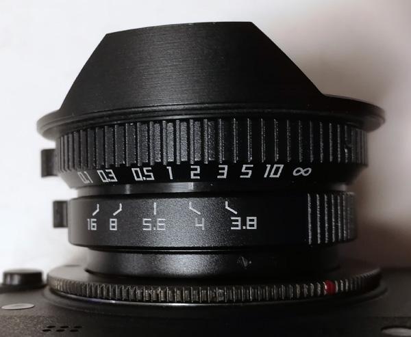 中国製8mm F3.8 魚眼レンズ + ロシア製Gfotoのチップ付きCマウント-Nikon1マウントアダプター