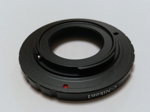 Aluminium Alloy Lens Mount Adapter Converter fr C-Mount Lens to Nikon 1 DSLR(DSLRと書いてあるが、Nikon 1はDSLRではなくミラーレスデジタルカメラだ)