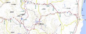 【画像1】ナビRM-XR550XLのGPS軌跡を「カシミール3D」で国土地理院地図に表示したところ